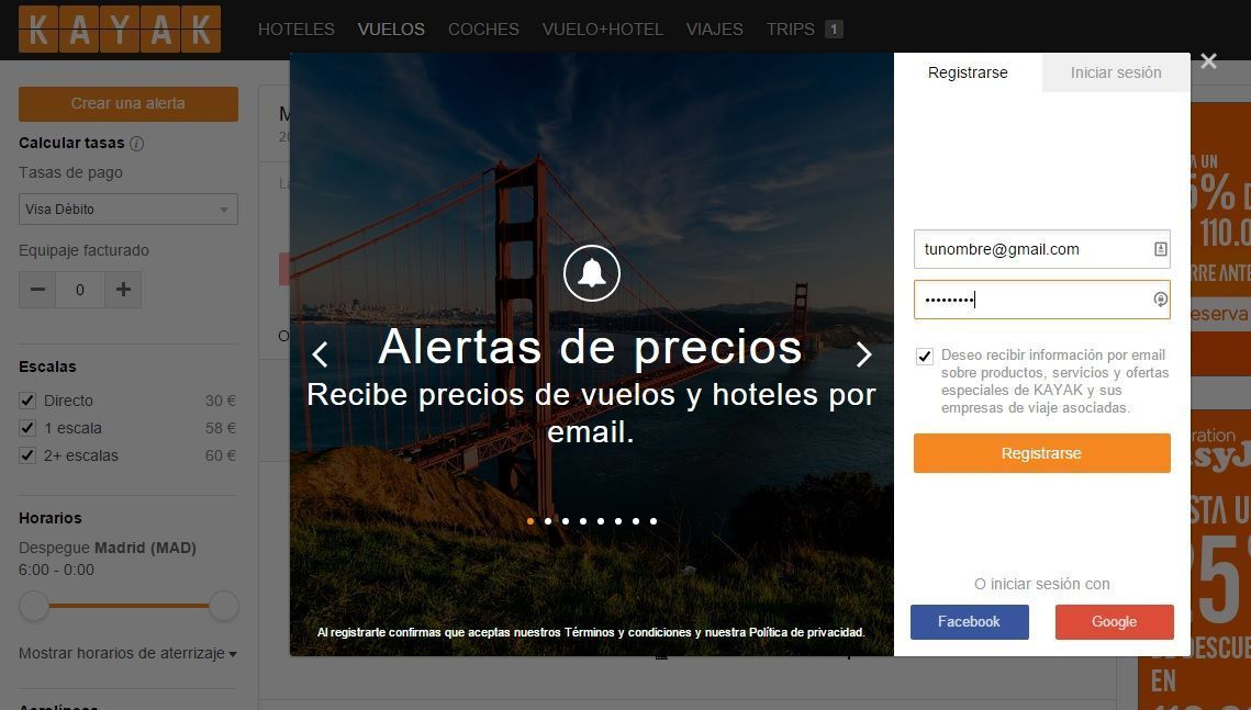 Registro en Kayak