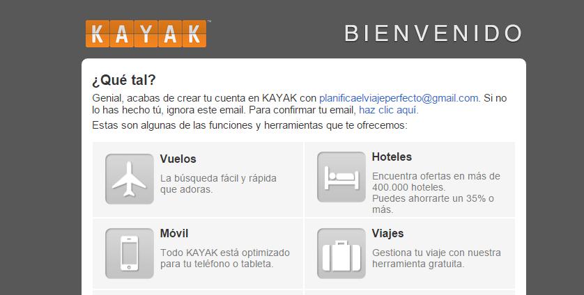 Bienvenida kayak email registro